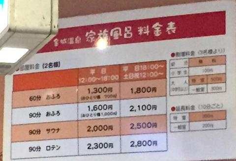 金城温泉の詳しい料金表(2019年現在)(クリックで拡大)
