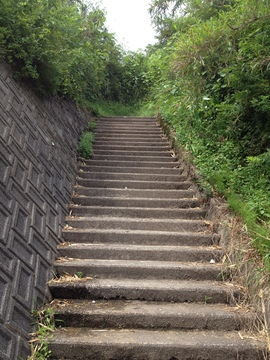 駐車場の横の階段からスタート