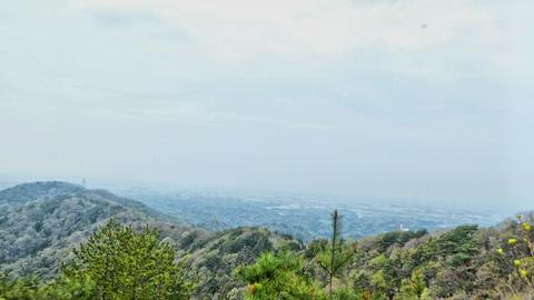 高野山(たかのやま)までの稜線。ここから見ると低い
