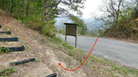 鍋谷和佐谷線を横切りすぐに向かい側の登山道へ
