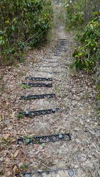 急なプラ階段注意