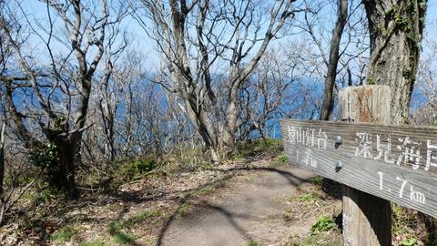 中間地点。猿山灯台側の岬が見えてくる