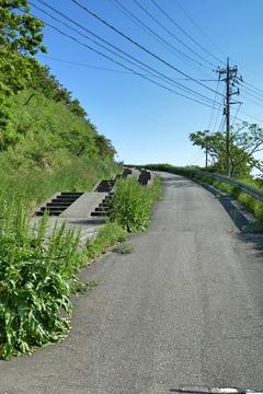 自転車道らしい階段つきスロープ