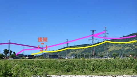 対岸の接続。2つの送電系統が分岐されて川を渡る。先程の明島支線との接続部も