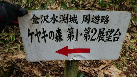 ケヤキの森と展望台の看板。