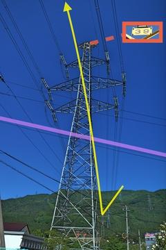 加賀東金津線(黄)が山から降りて手取線(紫)をくぐる