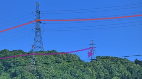 左方向、雲龍山北尾根を巨大な500kV加賀幹線(赤)が走る。下を潜るのは154kV手取幹線(紫)