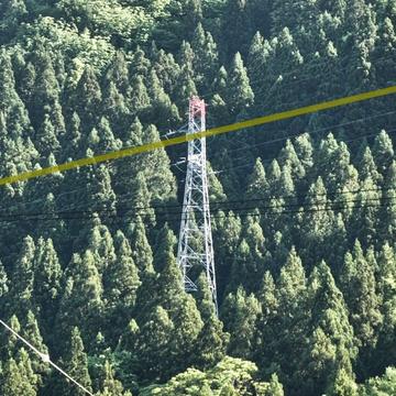 岳峰南側い降りてきている1回線(3本だけ)鉄塔が吉野谷線(黄土色線)