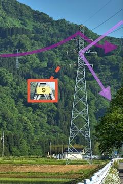 手取線(ピンク)9番いよいよあと10本を切った。奥には手取幹線(紫)が最終目的地まで高倉山斜面を走る