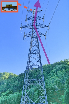 左高倉山から降りてきたのは手取幹線。番号は4番。あと3つ先に目的地の1番が