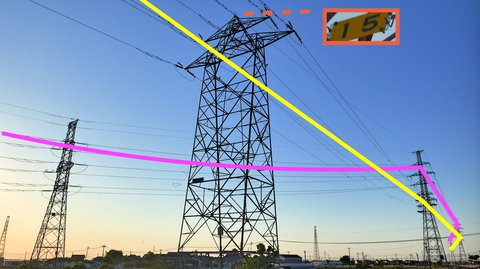 手前鶴来第1線と奥手取幹線の分岐部が間近に。分かれ目がよく見える