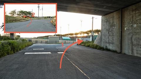 コース中一番迷いやすいポイント。写真よくを見て公園の右横に出よう