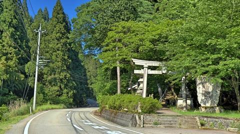 坪野の町の八幡神社 長い階段が見える