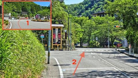 道の駅を右に出た後、二又を右、山中温泉街へ