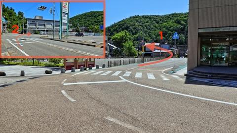 山中温泉総湯菊の湯前のクランクを過ぎてからスーパー前を右折でトンネル