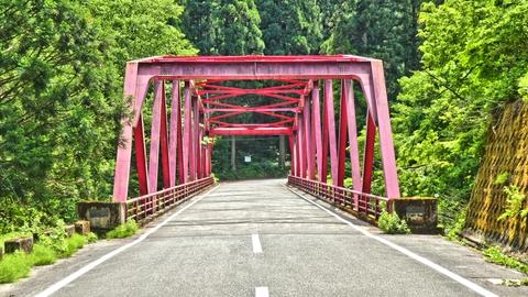 赤色が印象的な石滝橋 昭和46年8月架