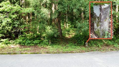 マセ山 日渡登山口 2つ並んだ石標が目印