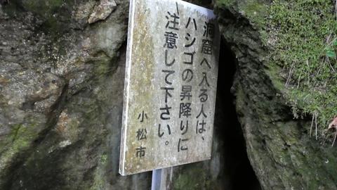 洞窟へ入る人はハシゴの登り降りに注意してください(入るなとは書いていない)