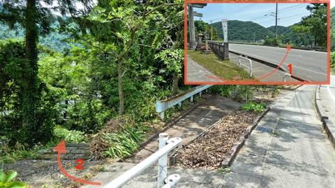 白山神社の鳥居から国道を渡ると温泉街への階段がある