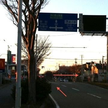 向陽台の交差点を右折。内灘街中へ