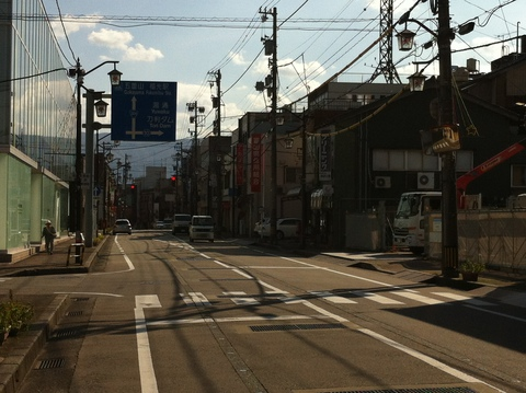 福光駅前の右折
