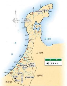 石川県のダム位置図(クリックで拡大)