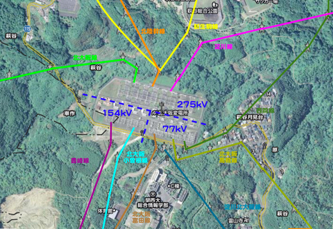 関西電力 北大阪変電所 接続図(クリックで拡大)