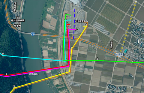 北陸電力 北庄変電所 接続図 左が154kV、右が77kV