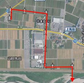 能美川北線は工場を回り込んで手取川を超えるが・・・