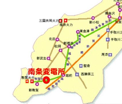 福井県送電系統図 南条変電所