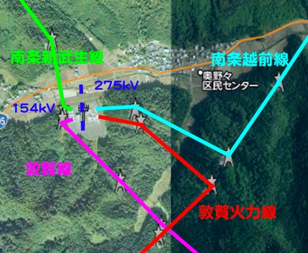 南条変電所周辺接続図図(クリックで拡大)