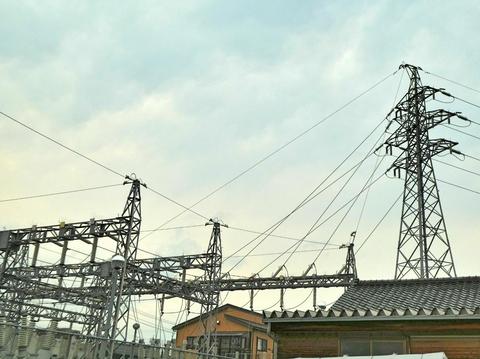 根上変電所と根上線17番最終鉄塔
