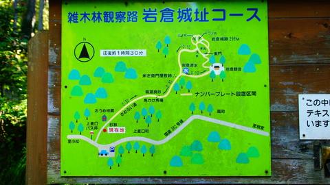 雑種林観察路岩倉城址コース図