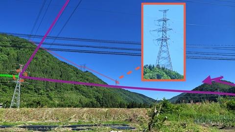 降りてきた手取幹線(紫)44番が発電所から電力を受けている(緑線)、奥には加賀幹線の重角度鉄塔42番と白山の頭