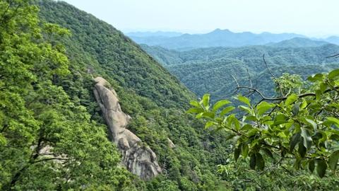 右手に天狗岩、奥の2つ頭の山は鞍掛山