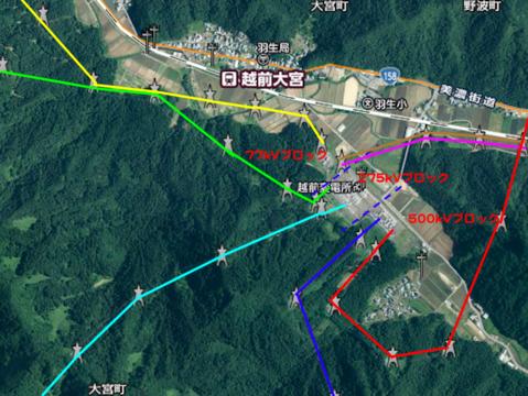 北陸電力越前変電所 周辺接続図