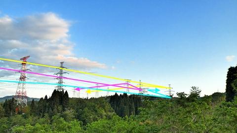 複雑な辰巳ダム南側鉄塔群の接続(クリックで拡大)