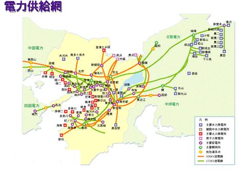 関西電力系統図(クリックで拡大/電気主任技術者・実務情報様より)