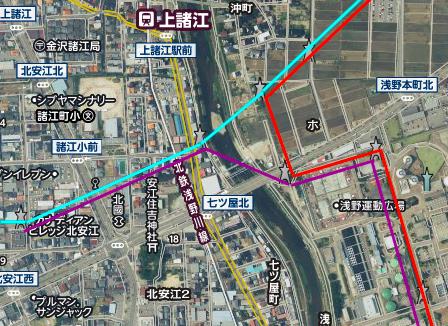 浅野川トライアングル図 津幡線(水色)浅野線(紫)御所浅野線(赤)