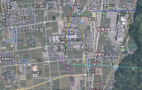 南金沢変電所周辺の接続(クリックで拡大)
