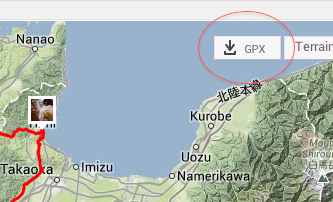 GPXのダウンロードボタン