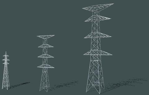 電圧と鉄塔高 左から66kV(25m程度)/220kV(50m程度)/500kV(80m程度):日本鉄塔工業(株)より