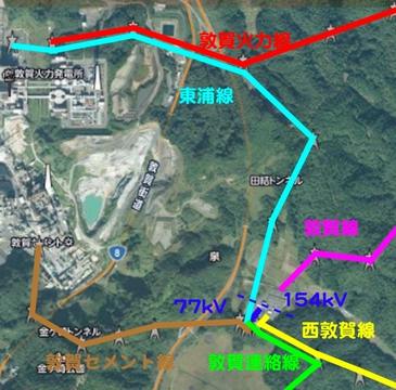 敦賀火力発電所と新敦賀変電所接続図(クリックで拡大)